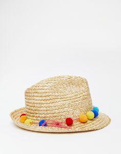 Image 4 - Catarzi - Chapeau de paille avec calotte à pompons 겨울 해변 1b5c4fe6a842d