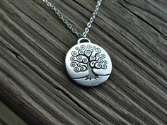 Bohemian Tree  Necklace  fine silver plated pendant  - 2014 Custom Necklaces