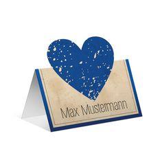 Pop up Tischkarten zur Hochzeit - Vintage Herz in Blau #tischkarte #platzkarte #hochzeit #wedding #tischkarten #platzanweiser #vintage #herz #blau #popup
