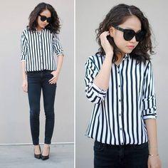 Striped shirt. Black sunny jeans