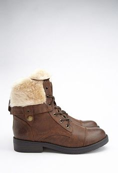 Faux Fur-Lined Combat Boots | Forever 21 - 2000180469