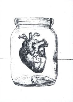 Heart Ajar - Print of Surrealist Drawing, black and white, 5 by 7 inches on Etsy, $7.00 Heart in a mason jar