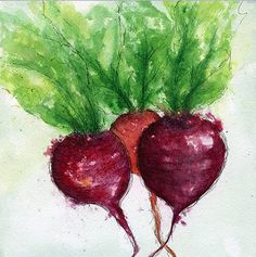 """Print of an Original Watercolor and Ink Painting """"Beets"""""""