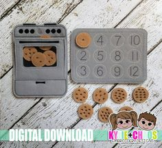 Oven Cookie Number Match Felt Board ITH Embroidery Design