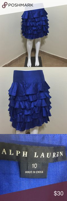 RALPH LAUREN Couture Blue Ruffle Silk Skirt 10 L Label-Ralph Lauren Couture Black Label  Style- Flat front wide waist front and back, multi tier Ruffles, side zip Size-10 Large Shown on a size 2 mannequin  Measurements- W-I 32 Hip-46 Length- 20 Color-Bright Cobalt Blue Fabric- 100% Silk Condition- Lightly if ever worn, no issues, snags, pics or smells Origin-China Ralph Lauren Black Label Skirts A-Line or Full