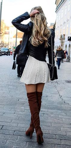 #winter #outfits black leather jacket and white mini skirt