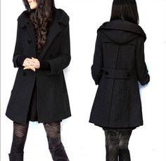 Jason Kole Coat, Double-Breasted Hooded Wool-Blend Pea Coat ...