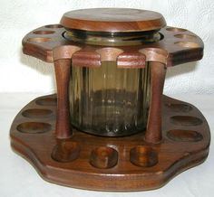 Pipe Holder Rack and Glass Tobacco Decanter   Vintage by Decatur 12 Slots