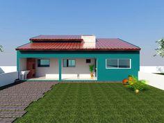 Uma casa com 2 quartos sendo um maior com suite, e o outro pequeno, uma sala e uma cozinha. Modelo de edicula com uma varanda grande na frente.