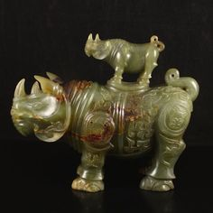 Vintage Chinese Natural Hetian Jade Low Relief Rhinoceros Incense Burner