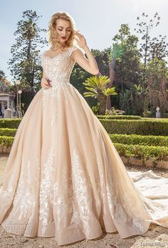 louise sposa 2018 bridal cap sleeves sweetheart neckline heavily embellished bodice romantic princess blush color ball gown a line wedding dress sheer button chapel train (14) mv
