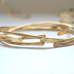 Raw Hammered Adjustable Brass Bangle Set from Concept Forty Seven by Beija-Flor Naturals | Square Market