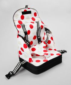 Make sure your little'un is sitting pretty in cool spots! This sweet booster seat is great for converting chairs into a kid-sized seat, and its handy to take on the go with a flat-folding and handle design. The straps are adjustable to suit different chairs and the t-bar is adjustable to suit different kids!NylonWipe clean
