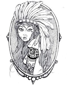 line art indian girl - Google Search