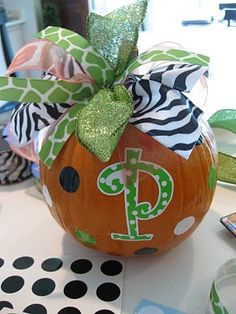 "Love This !! DIY: A SOUTHERN Girl's ""Jack 'em Up"" PUMPKIN holiday, jack em, fall crafts, fall yall, pumpkins, southern girls, monograms, kid, halloween"