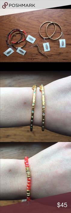 Spartina Bundle Several Gold-plated crystal embedded bracelets/bangles! All brand new. It's a wonderful brand. The tags all have 8k on up Gold plating. The Gold bangles both have clasps that are pictured. Goes to best offer. Spartina Jewelry Bracelets