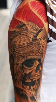 Victor Portugal Roman skeleton tattoo