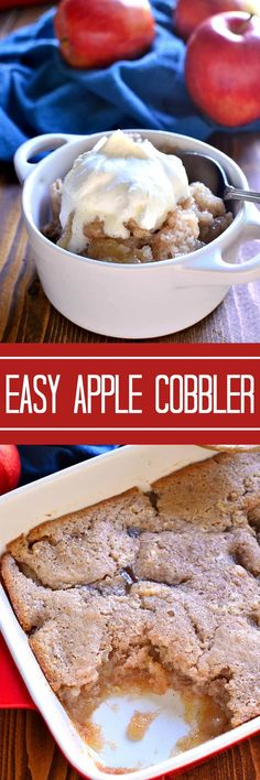 This Easy Apple Cobbler is made with just 6 ingredients and oven-ready in under 5 minutes. Delicious served warm with a scoop of vanilla ice cream or whipped cream! Apple Desserts, Fall Desserts, Apple Recipes, Just Desserts, Baking Recipes, Sweet Recipes, Delicious Desserts, Cake Recipes, Dessert Recipes