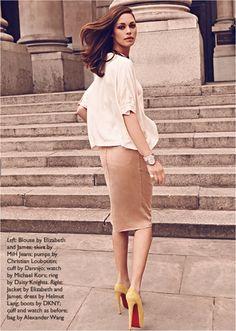flowy blouse + pencil skirt
