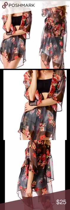 FLORAL KIMONO COVER UP This sexy, feminine, chic kimono has your name written all over it. Light & sheer with flowers add a pop of color to the girly style. Only 1-L & 1-XL left! Swim Coverups
