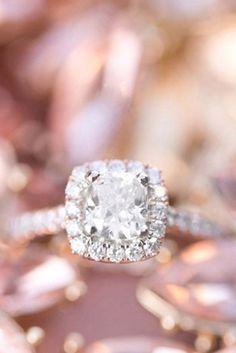 Rose Gold Engagement Ring Unique Wedding Diamond Rings