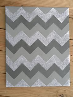 Chevron Painting: Silver Glitter, Dark & Light Grey Paint on Etsy, $60.00-WHOA EXPENSIVE JUST DIY!!!