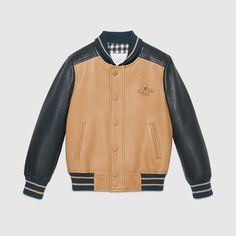 Gucci Children's blue and tan leather bomber jacket with embroidered bee detail. Toddler Boy Outfits, Kids Outfits, Shirt Jacket, Bomber Jacket, Varsity Letterman Jackets, Mens Outdoor Jackets, London Outfit, Family Outfits, Clothing Items