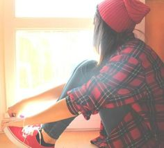 Beanie, red sneakers, jeans, plaid top