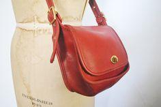 Coach WATSON Bag / Red leather / Messenger Satchel purse by badbabyvintage on…