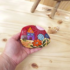 Painted rock beautiful home decoration rustic style folk art Christmas gift anniversary garden decor Australian stone village houses flowers by TheStunnerBoutique on Etsy