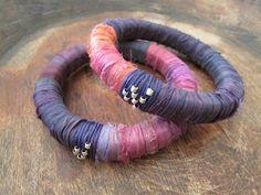 Sari Silk Boho Bangles Purple Fuchia Bracelets by BlueMargarita Bold Jewelry, Simple Jewelry, Jewellery, Dusty Purple, Dusty Rose, Etsy Handmade, Handmade Jewelry, Pearl Necklaces, Mixed Fiber