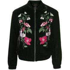 TopShop Tall Velvet Embroidered Bomber ($90) ❤ liked on Polyvore featuring outerwear, jackets and coats