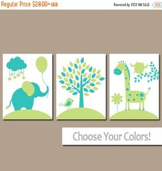 Lime Turquoise Nursery Wall Art, Canvas or Prints, Baby Girl Decor, Balloon Elephant Giraffe Tree, Jungle Safari Animals, Set of 3 Artwork