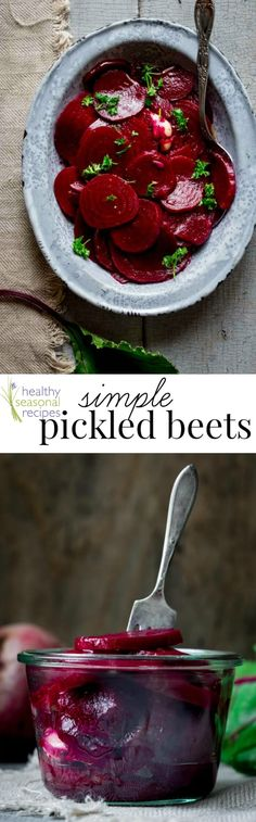 With just 10 minutes of prep and only 5 ingredients you can transform earthy beets into tangy tender slices of absolute goodness. These Simple Pickled Beets are gluten free, paleo-friendly and vegetarian and one of my absolute favorite summer side dishes! @healthyseasonal