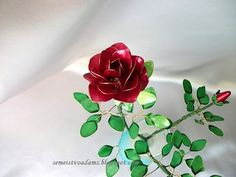 Wire red rose with nail polish by semeistvoadams.blogspot.com