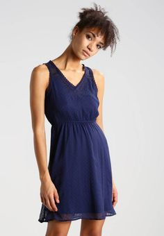 Vero Moda. VMBIANCA - Summer dress - black iris. Outer fabric material:100% polyester. Pattern:plain. Care instructions:do not tumble dry,machine wash at 30°C,A shrinkage of up to 5% may occur. Neckline:Low V-neck. Sleeve length:sleeveless. Back ...