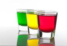 Stoplight Shots: Line up the shot glasses, it's time to take a trio of colorful and fruity vodka shots known as the Stoplight.
