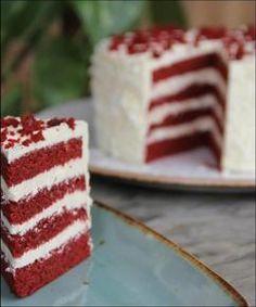 Red velvet taart! High Tea, Red Velvet, Velvet Cake, Bon Appetit, Vanilla Cake, Sweet Recipes, Creme, Cheesecake, Food And Drink