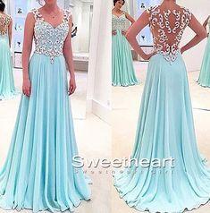 Elegant blue chiffon long prom dress for teens, cute bridesmaid dress 2016, modest prom dress long