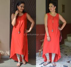 Solid red kurta with printed leggings. Modern indian ethnic look. Catch up the whole look details on blog.