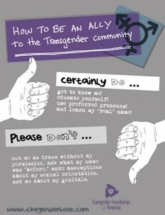 I love this poster courtesy of the Houston based Transgender Foundation of America entitled 'How To Be An Ally To The Trans Community' Ce. Transgender Community, Lgbt Community, Transgender Ftm, Barbara Walters, Public Service Announcement, Genderqueer, Get To Know Me, Social Issues, Equality