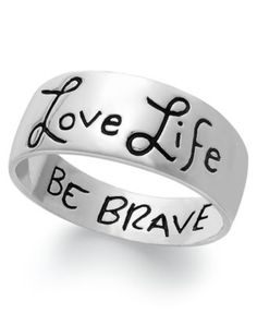 Love Life, Be Brave Engraved Ring Sterling Silver