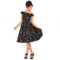 Christie Music Off Shoulder Swing Dress   Vintage Dresses - Lindy Bop