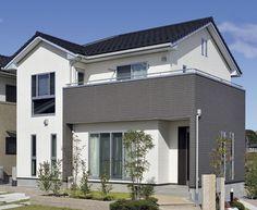 【外観詳細】わが家の壁サイト-外観・内壁コーディネートサイト(ニチハの住宅施工例集)- Exterior Paint Colors, Japanese House, House Rooms, Facade, Villa, House Design, Architecture, Building, Interior