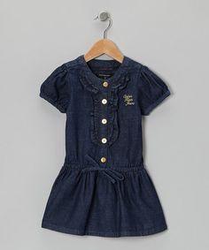 Love this Dark Blue Wash Ruffle Placket Dress - Infant, Toddler & Girls on #zulily! #zulilyfinds