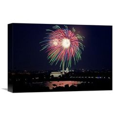 Global Gallery 'July 4th Fireworks, Washington, D.C.' by Carol Highsmith Photographic Print on Wrapped Canvas Size: