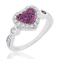 #Malakan #Jewelry - Silver Pink #Sapphire Heart-Shaped Ring  56372A5 #Fashion #FashionRings #WomensFashion