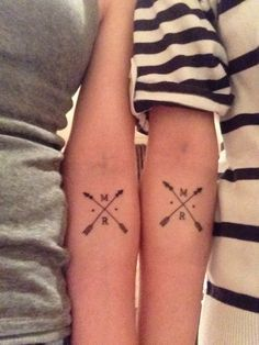 Arrows and initials #TattooModels #tattoo