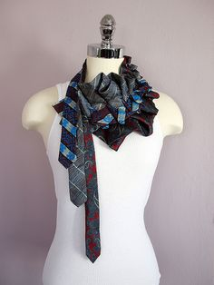 three ties, one necklace  Lillian Asterfield design  as inspiration for scarf challenge