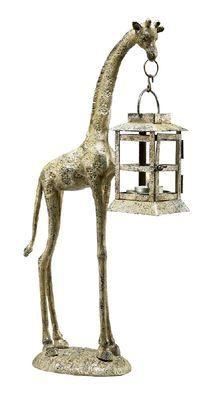 "18"" Aluminum Giraffe Statue Tea Light Candle Holder Lantern"